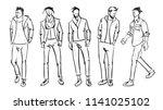 fashion man. set of fashionable ... | Shutterstock .eps vector #1141025102