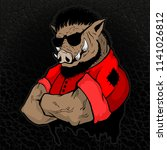strong boar man on the texture... | Shutterstock .eps vector #1141026812