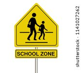 School Zone Sign On A White...