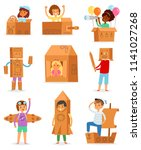 kids in box vector creative... | Shutterstock .eps vector #1141027268