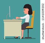 the dissatisfied woman is... | Shutterstock .eps vector #1141039202