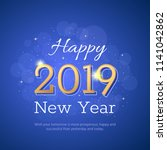 happy new 2019 year greeting... | Shutterstock .eps vector #1141042862