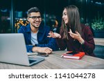 cheerful hipster guy in...   Shutterstock . vector #1141044278