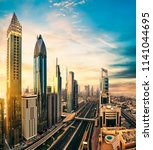dubai sunset panoramic view of... | Shutterstock . vector #1141044695
