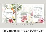 greeting card with tropical... | Shutterstock . vector #1141049435