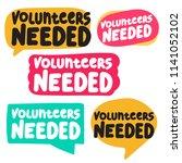 volunteers needed. set of... | Shutterstock .eps vector #1141052102