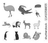 different animals monochrome...   Shutterstock .eps vector #1141058855