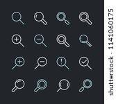 magnifying glass flat line... | Shutterstock .eps vector #1141060175