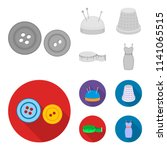 pincushion with pins  thimble ...   Shutterstock .eps vector #1141065515