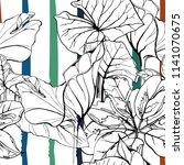 tropical  modern stripes motif. ... | Shutterstock .eps vector #1141070675