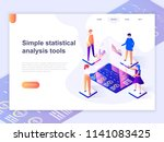 landing page template of charts ... | Shutterstock .eps vector #1141083425