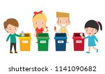 children collect rubbish for... | Shutterstock .eps vector #1141090682