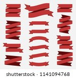 red flat ribbons banners... | Shutterstock .eps vector #1141094768