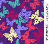 seamless colorful butterfly... | Shutterstock .eps vector #1141095248
