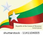 flag of myanmar  republic of...   Shutterstock .eps vector #1141104005