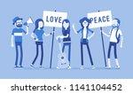 hippie movement demonstration.... | Shutterstock .eps vector #1141104452