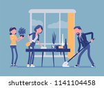 family cleaning the house.... | Shutterstock .eps vector #1141104458