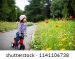 Baby Girl Play Bike At Summer...