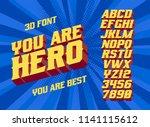 you are hero  superhero font.... | Shutterstock .eps vector #1141115612