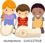 illustration of stickman kids... | Shutterstock .eps vector #1141127018