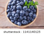 bowl full of blueberries  ...   Shutterstock . vector #1141140125