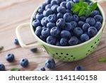 bowl full of blueberries  ... | Shutterstock . vector #1141140158