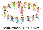 joyful little children and a... | Shutterstock .eps vector #1141141925
