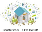 banking theme cartoon  bank... | Shutterstock .eps vector #1141150385