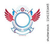 graphic winged emblem created... | Shutterstock .eps vector #1141151645