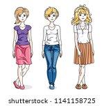 attractive young adult girls... | Shutterstock .eps vector #1141158725