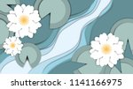lotus flowers and leaves in the ...   Shutterstock .eps vector #1141166975