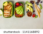 healthy lunch in boxes | Shutterstock . vector #1141168892