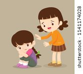 cute girl comforting her crying ... | Shutterstock .eps vector #1141174028