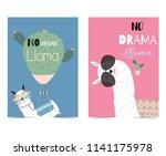 pink blue hand drawn cute card...   Shutterstock .eps vector #1141175978