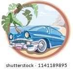 blue retro car 50s in vector | Shutterstock .eps vector #1141189895