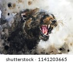 watercolour painting of panther | Shutterstock . vector #1141203665