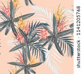 seamless pattern with tropical... | Shutterstock .eps vector #1141205768