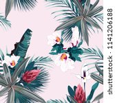 seamless pattern with exotic... | Shutterstock .eps vector #1141206188