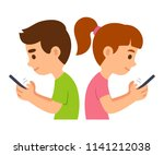 children with smartphones... | Shutterstock .eps vector #1141212038