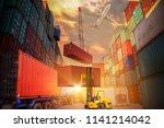 industrial crane loading... | Shutterstock . vector #1141214042