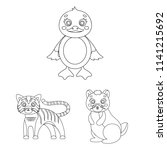 toy animals outline icons in...   Shutterstock . vector #1141215692