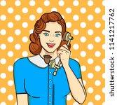 pop art background. retro girl  ... | Shutterstock .eps vector #1141217762