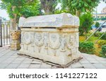 the antique carved sarcophagus... | Shutterstock . vector #1141227122