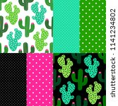 cute set of cactus seamless... | Shutterstock .eps vector #1141234802