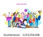 dance crowd vector illustration.... | Shutterstock .eps vector #1141256108