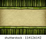 Template background - handmade paper and bamboo - stock photo