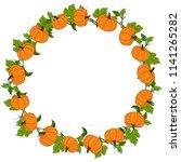 round frame with pumpkins ...   Shutterstock .eps vector #1141265282