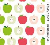 seamless apple vector pattern...   Shutterstock .eps vector #1141273415