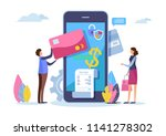shopping online. digital... | Shutterstock .eps vector #1141278302