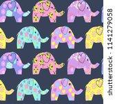 vector cheerful seamless... | Shutterstock .eps vector #1141279058